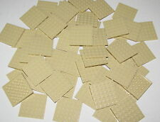 Lego Lot of 50 New Tan Plate 6 x 6 Dot Building Blocks Pieces