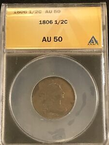 1806 Draped Bust Half Cent 1/2C ANACS AU50