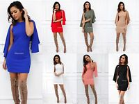 New Womens Ladies Sleeveless Round Neck Mini Cape Bodycon Party Cocktail Dress