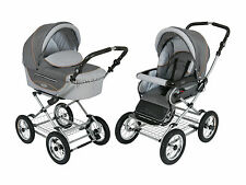 Roan Kortina Pram Stroller 2-in-1 with Bassinet and Seat - Shades of Grey color