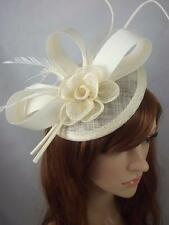 Ivory Cream Satin Bow Sinamay Disc Fascinator - Occasion Wedding Races Hat
