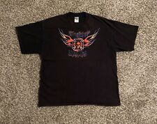 VTG Blacktop Choppers Mens T-Shirt XL Skull Flames Iron Cross Graphic Spell Out