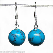 925 STERLING SILVER 10mm GENUINE TURQUOISE BEAD / BALL DROP EARRINGS