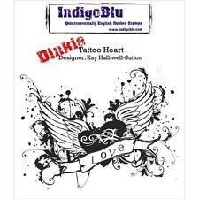 New Cling IndigoBlu Rubber Stamp TATTOO HEART  free usa ship love