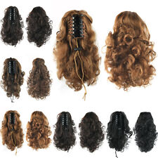 34cm Short Women Curly Claw Clip In Hair Ponytail With Drawstring