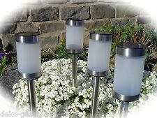 4 x LED solare luce lampada con cambio colori RGB acciaio inox 40 NUOVO DESIGN