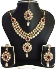 Indian Bollywood Traditional Fashion Gold Tone Kundan Bridal Party Jewelry Set