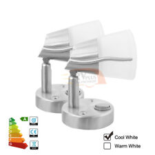 2X12V LED Book Reading Wall Lamp Marine Caravan Bedside Light Switch Cool White