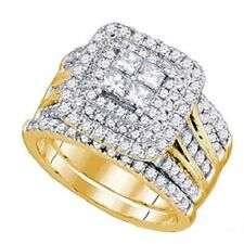 14k Yellow Gold Over 2.20CT Princess Diamond Engagement Ring Wedding Bridal Set