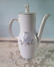 Mid Century Coffee Pot 5 Cup Rosenthal Thomas China Blue & White Rose Modern