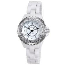 Skone White Ceramic Band Women's Watch Rhinestone Analog Quartz Wristwatch B3O8
