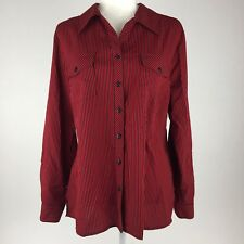6e3380e2249559 Elementz Womens Long Sleeve Blouse Button Front Red & Black Striped A4