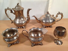 Silver Plated Tea Set Teapot Coffee Pot Sugar Bowl Milk Jug Cup Chalice Antique