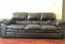 3 seater brown leather