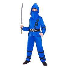 Boys Power Ninja Blue Black Fancy Dress up Party Costume Halloween L