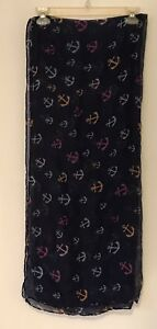 Lot Of 4 Pashmina Scarves Pineapple, Anchors, Pink Flowers, Paisley