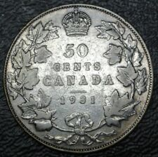 OLD CANADIAN COIN 1931 - 50 CENTS - .800 SILVER - George V - Nice
