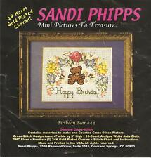 Counted Cross Stitch Sandi Phipps Birthday Bear #44 w 2 Gold Plated Charms