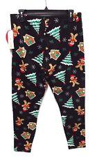 b5bd74a20fc Eye Candy Plus Womens 1X Black Gingerbread Man Christmas Tree Ankle  Leggings New