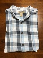 Duluth Trading Co Blue Flannel Button Down Shirt Plaid Men's Size 2XL Tall