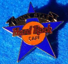 HRC HRI STAFF AWARDED BLUE ROCK STAR BLACK BANNER TAC BACK Hard Rock Cafe PIN