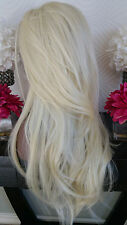 Beautiful Platinum Blonde Mix Lace Front Wig Long Wavy Heat Safe