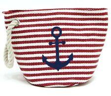 Nautical Red Stripe Blue Anchor Straw Makeup Bag Clutch Purse Rope Wrist Strap