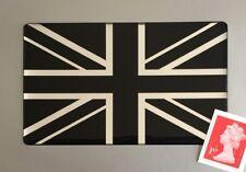 Union Jack Flag Sticker Domed Finish Black & Chrome 100mm