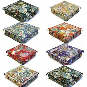 All Of Sizes Indian Paisley Kantha Floor Cushion Cover Home Décor Dog Pet Bed UK