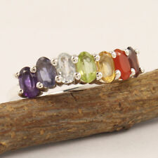 Multi Gemstones Reiki 7 Healing Chakra Ring Size Variation 925 Sterling Silver