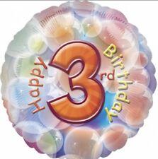 "18"" Amscan Happy 3rd Birthday Bubbles Foil Helium Balloon"