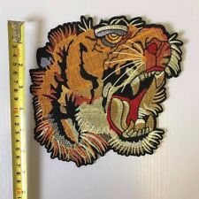 X-Large TIGER HEAD BACK PATCH Embroidered Badge Iron Sew 18cm x 18cm