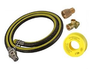 """UNIVERSAL 1/2"""" BAYONET, 4FT COOKER HOSE, GAS PTFE & WALL PLATE - LPG SUITABLE"""