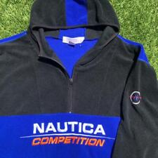 VTG 90s Nautica Competition Embroidered Spellout Fleece Sweatshirt Jacket XL/2XL