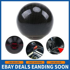 Universal Car Gear Shift Knob Round Ball Shape Black Carbon Fiber With Adapters
