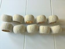 Hand-Beaded? Holiday Gold Napkin Rings Wrapped w/Tiny White Beads Set of 10