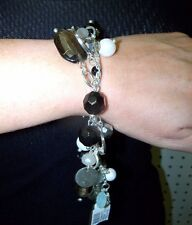 WHITE HOUSE BLACK MARKET VENETIAN GLASS BRACELET--GRAY--NWT-VERSATILE