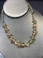 "Stunning 1950's Citrine Crystal AB WOW Vintage Necklace Wedding 16"" Fancy"
