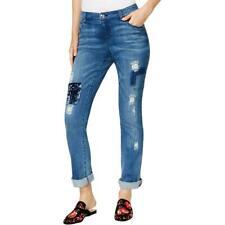 INC Womens Blue Velvet Patchwork Denim Boyfriend Jeans Petites 14P BHFO 0586