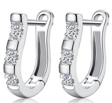 Women's 925 Silver Crystal Huggie Dangle Hoop Punk Stud Wedding Earrings Jewelry