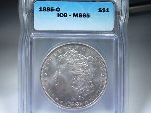 1885-O Morgan silver dollar  MS-65
