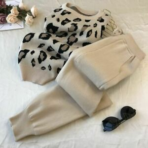 Women Knitted Leopard Pullover Sweaters+Pants Set Fashion Jumpers Trousers 2 Pcs