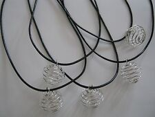 20 New Silver Plated Spiral Bead Cages Faux Leather 18inch Necklace + Clasp
