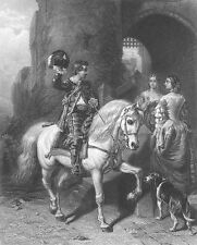 YOUNG KNIGHT on HORSE Waves to Maidens PRETTY GIRLS ~ 1866 Art Print Engraving