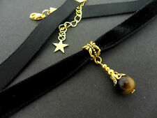 A LADIES GIRLS 10MM BLACK VELVET & GOLD  TIGER'S EYE BEAD CHOKER NECKLACE . NEW.