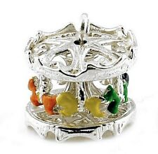 STERLING SILVER MOVABLE CAROUSEL CHARM