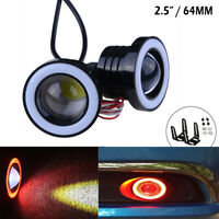 "Pair 2.5"" 64MM Car Red COB Fog Light Foglight Projector Lamp Halo Angel Eyes LED"