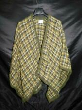 Muirfield Collection Scotland Green Plaid Wool Mohair Shawl Coat Blanket Wrap OS