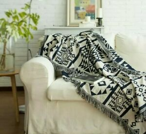 Textured Jacuard Woven Accent Throw Reversible Navy and White