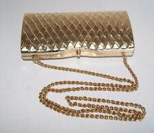 Vintage RODO Gold Hard-Shell Evening Bag With Chain